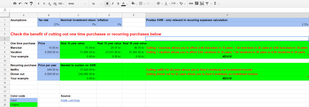 Image of the spreadsheet below on the time value of money